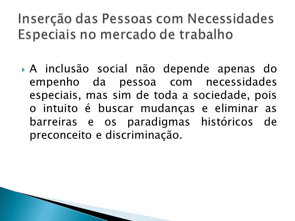  A inclusão social não depende apenas do empenho da pessoa com necessidades especiais, mas sim de toda a sociedade, pois o intuito é buscar mudanças