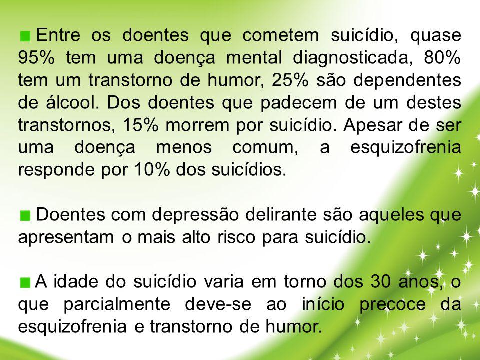 Entre os doentes que cometem suicídio, quase 95% tem uma doença mental diagnosticada, 80% tem um transtorno de humor, 25% são dependentes de álcool. D