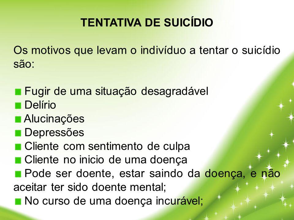 TENTATIVA DE SUICÍDIO Os motivos que levam o indivíduo a tentar o suicídio são: Fugir de uma situação desagradável Delírio Alucinações Depressões Clie