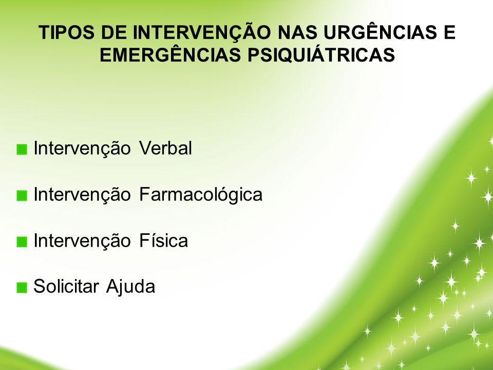 TIPOS DE INTERVENÇÃO NAS URGÊNCIAS E EMERGÊNCIAS PSIQUIÁTRICAS Intervenção Verbal Intervenção Farmacológica Intervenção Física Solicitar Ajuda