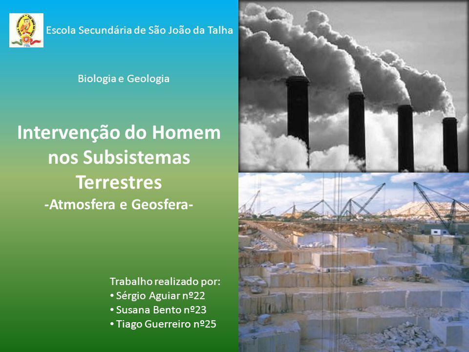 Introdução Ao longo deste trabalho vamos falar acerca da intervenção do homem em alguns dos subsistemas terrestres, como a Atmosfera e a Geosfera, e das consequências dessa mesma intervenção.