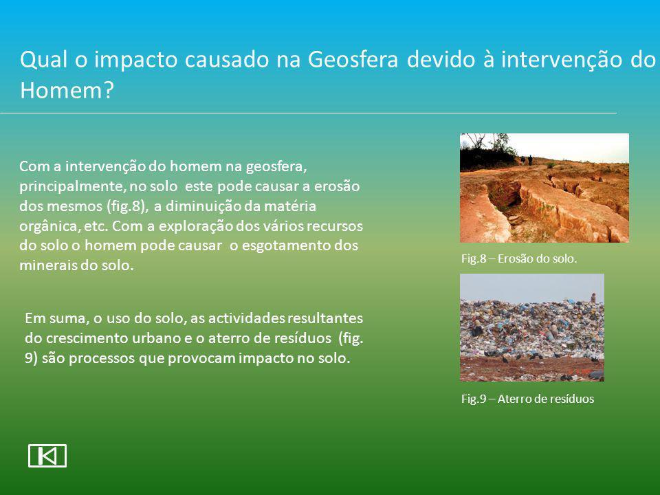 Intervenção do Homem na Geosfera Crescimento Urbano Aterro de ResíduosExploração dos recursos Diminuição da biodiversidade Erosão dos Solos Poluição dos Solos Esgotamento dos minerais e recursos do solo Fig 10 – Erosão dos solos Fig.11 – Poluição dos solos Fig.