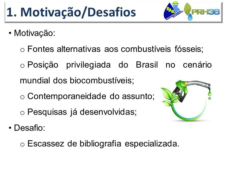 1. Motivação/Desafios • Motivação: o Fontes alternativas aos combustíveis fósseis; o Posição privilegiada do Brasil no cenário mundial dos biocombustí