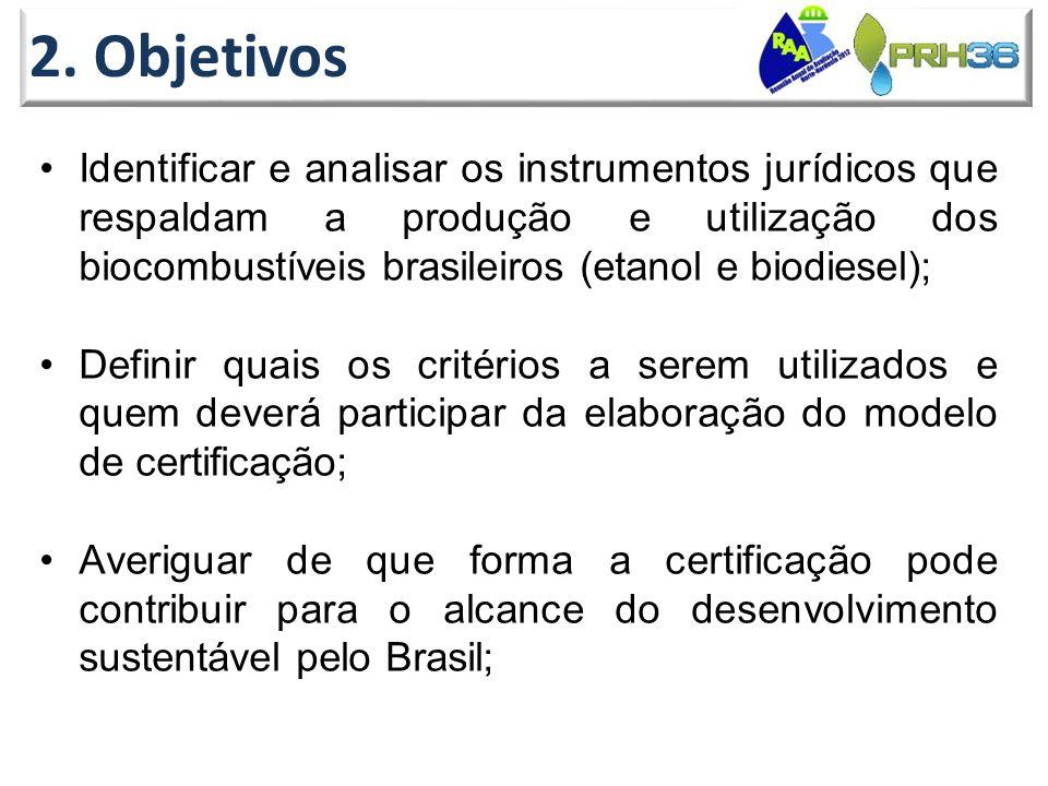 2. Objetivos •Identificar e analisar os instrumentos jurídicos que respaldam a produção e utilização dos biocombustíveis brasileiros (etanol e biodies