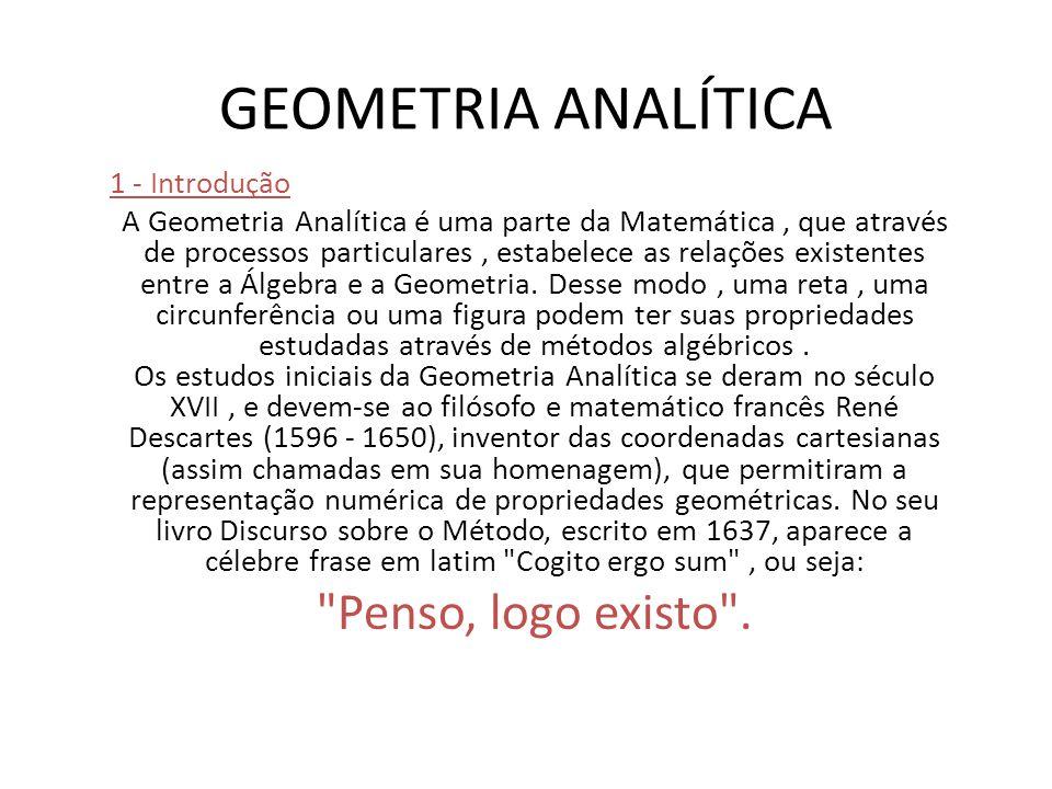 1 - Introdução A Geometria Analítica é uma parte da Matemática, que através de processos particulares, estabelece as relações existentes entre a Álgebra e a Geometria.