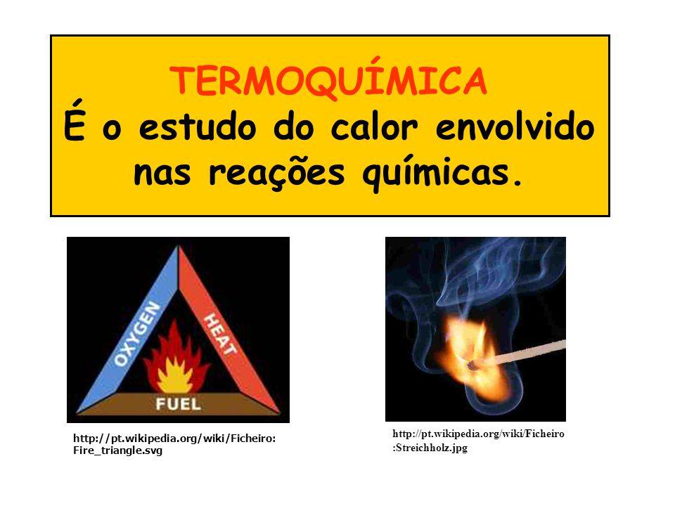 TERMOQUÍMICA É o estudo do calor envolvido nas reações químicas. http://pt.wikipedia.org/wiki/Ficheiro :Streichholz.jpg http://pt.wikipedia.org/wiki/F
