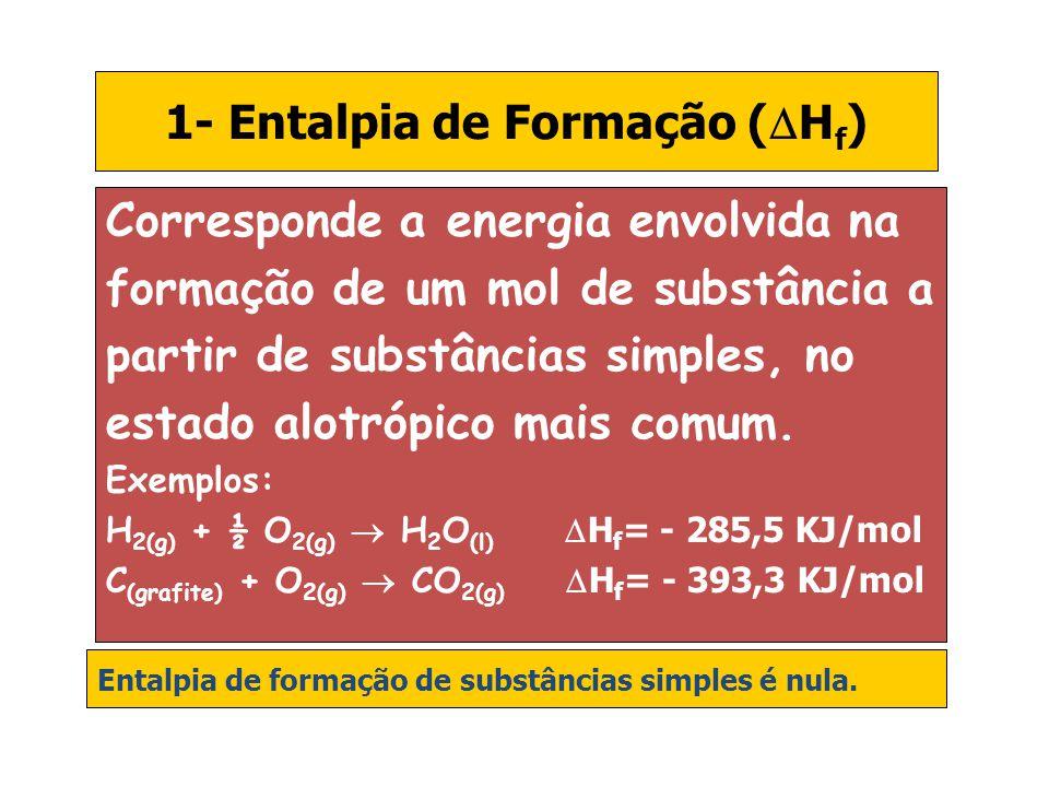 1- Entalpia de Formação (  H f ) Corresponde a energia envolvida na formação de um mol de substância a partir de substâncias simples, no estado alotr