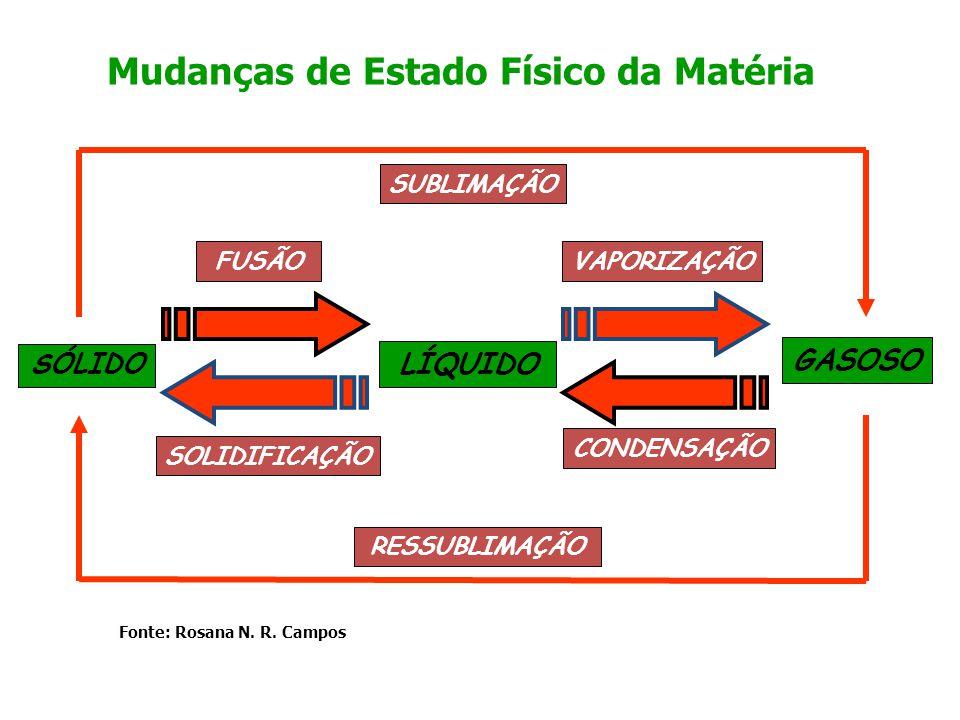 SÓLIDO GASOSO LÍQUIDO FUSÃOVAPORIZAÇÃO SUBLIMAÇÃO SOLIDIFICAÇÃO CONDENSAÇÃO RESSUBLIMAÇÃO Mudanças de Estado Físico da Matéria Fonte: Rosana N. R. Cam