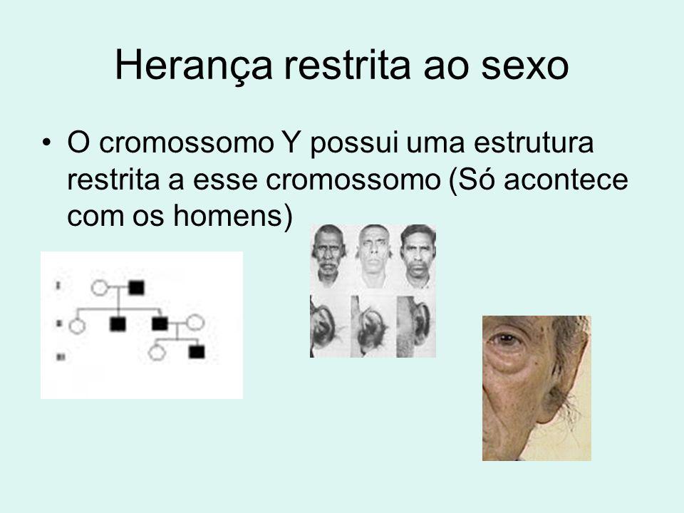 Herança restrita ao sexo •O cromossomo Y possui uma estrutura restrita a esse cromossomo (Só acontece com os homens)