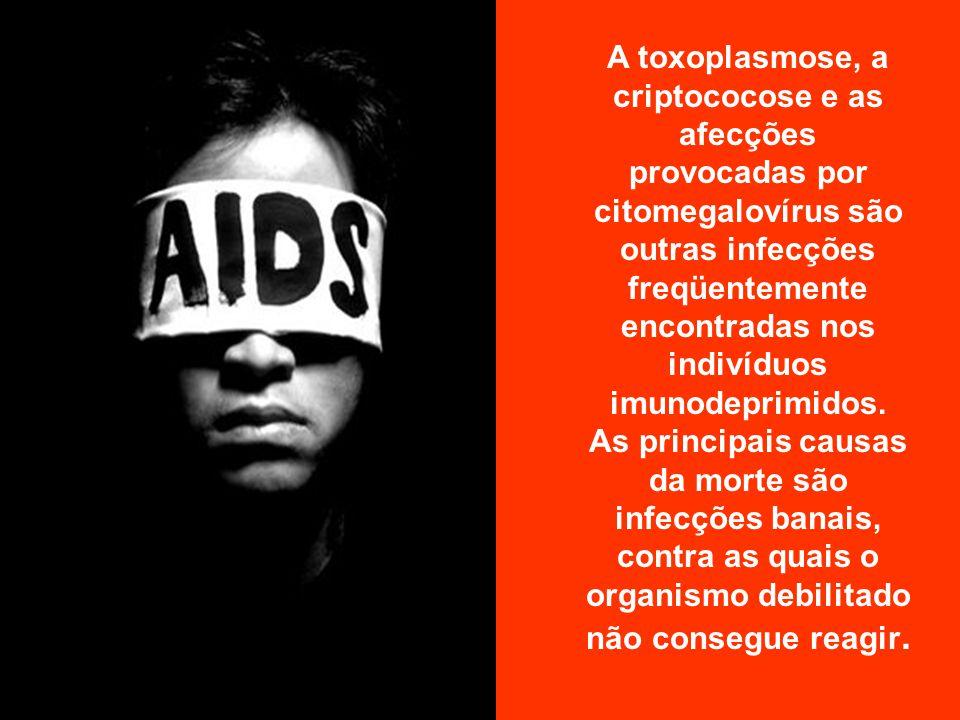 Com a imunidade debilitada pelo HIV, o organismo torna-se susceptível a diversos microorganismos oportunistas ou a certos tipos raros de câncer (sarcoma de Kaposi, linfoma cerebral).
