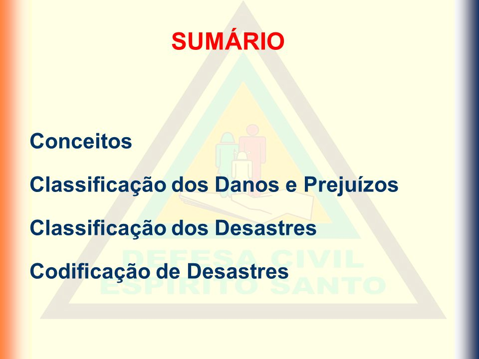 Classificação dos desastres Quanto a Origem