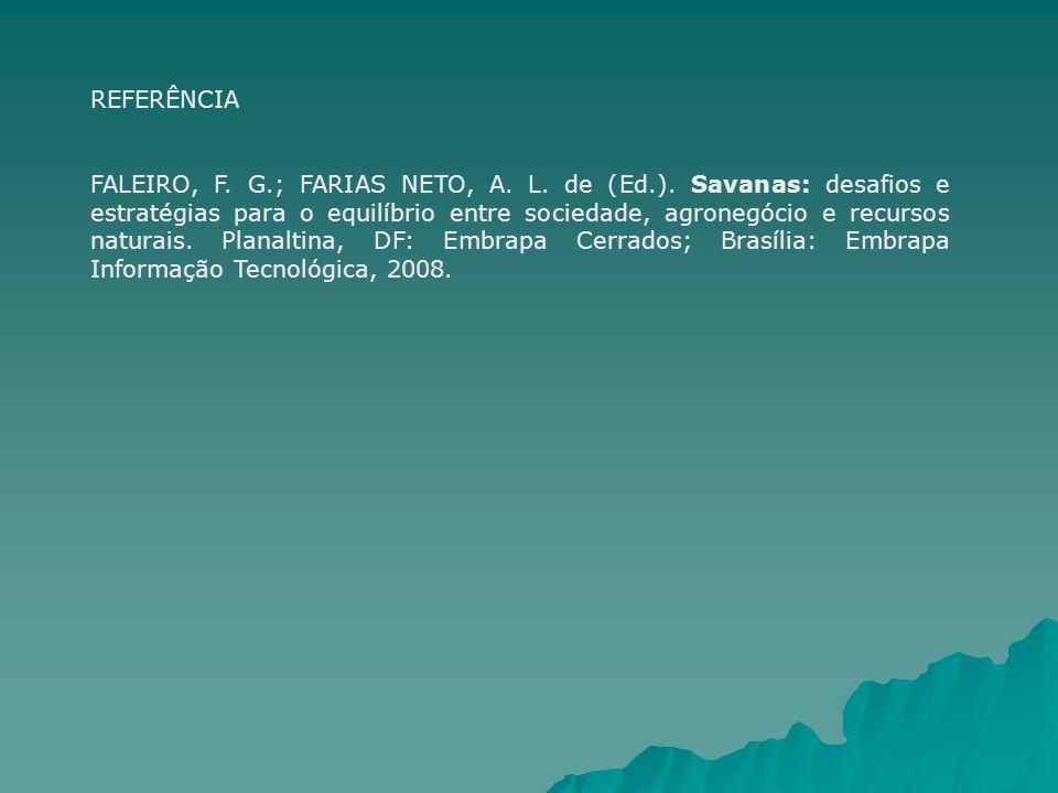 REFERÊNCIA FALEIRO, F. G.; FARIAS NETO, A. L. de (Ed.). Savanas: desafios e estratégias para o equilíbrio entre sociedade, agronegócio e recursos natu