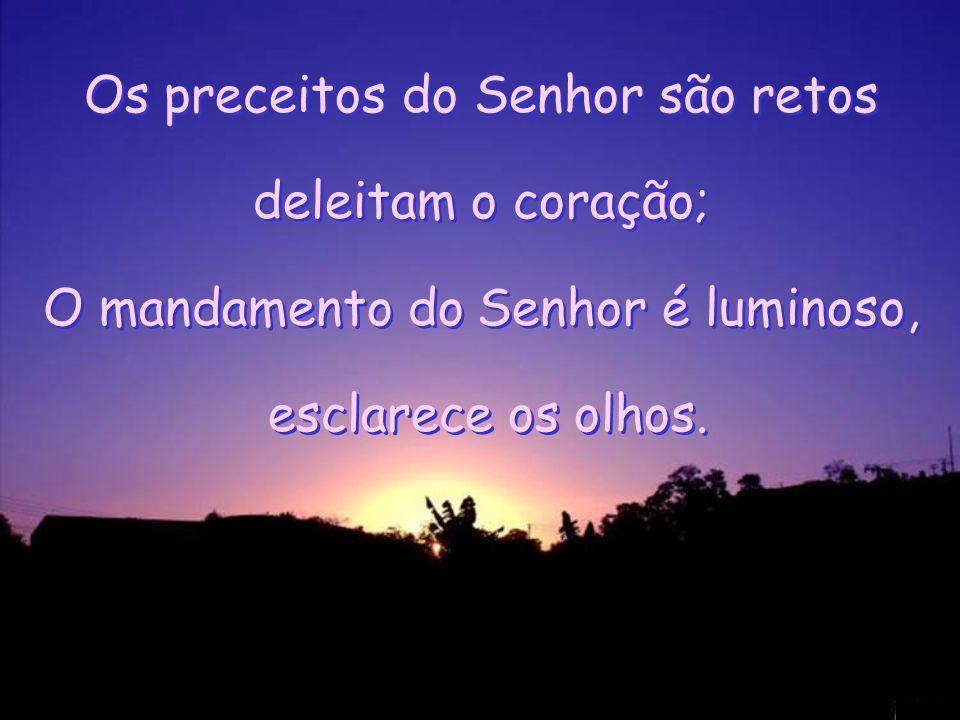 Os preceitos do Senhor são retos deleitam o coração; O mandamento do Senhor é luminoso, esclarece os olhos.
