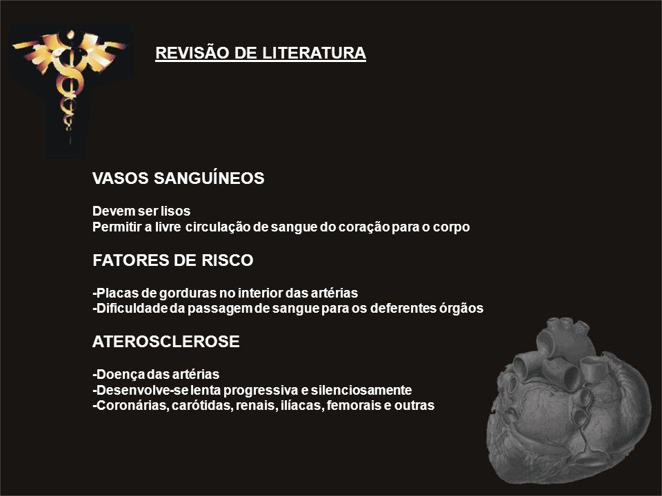 REVISÃO DE LITERATURA VASOS SANGUÍNEOS Devem ser lisos Permitir a livre circulação de sangue do coração para o corpo FATORES DE RISCO -Placas de gordu