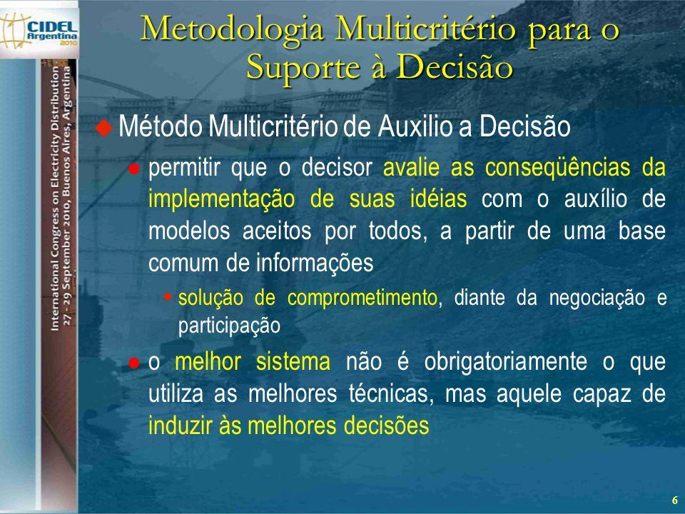 Metodologia Multicritério para o Suporte à Decisão  Método Multicritério de Auxilio a Decisão  permitir que o decisor avalie as conseqüências da implementação de suas idéias com o auxílio de modelos aceitos por todos, a partir de uma base comum de informações  solução de comprometimento, diante da negociação e participação  o melhor sistema não é obrigatoriamente o que utiliza as melhores técnicas, mas aquele capaz de induzir às melhores decisões 6