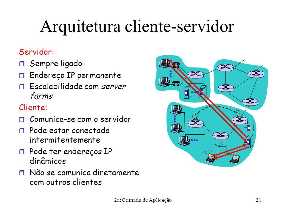 2a: Camada de Aplicação21 Arquitetura cliente-servidor Servidor:  Sempre ligado  Endereço IP permanente  Escalabilidade com server farms Cliente:  Comunica-se com o servidor  Pode estar conectado intermitentemente  Pode ter endereços IP dinâmicos  Não se comunica diretamente com outros clientes