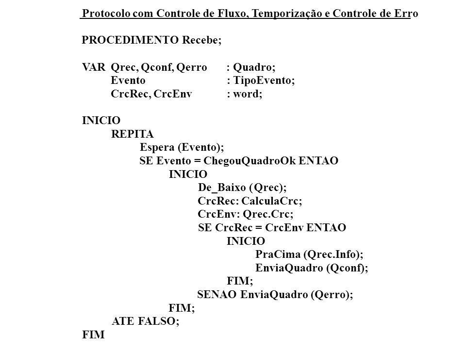 Protocolo com Controle de Fluxo, Temporização e Controle de Erro PROCEDIMENTO Recebe; VARQrec,Qconf,Qerro: Quadro; Evento:TipoEvento; CrcRec,CrcEnv:word; INICIO REPITA Espera (Evento); SE Evento =ChegouQuadroOk ENTAO INICIO De_Baixo (Qrec); CrcRec:CalculaCrc; CrcEnv:Qrec.Crc; SE CrcRec = CrcEnv ENTAO INICIO PraCima (Qrec.Info); EnviaQuadro (Qconf); FIM; SENAO EnviaQuadro (Qerro); FIM; ATE FALSO; FIM