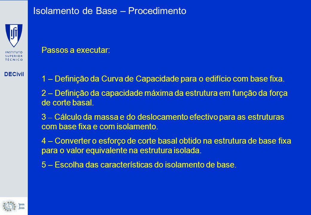 DECivil Isolamento de Base – Procedimento Passos a executar: 1 – Definição da Curva de Capacidade para o edifício com base fixa. 2 – Definição da capa