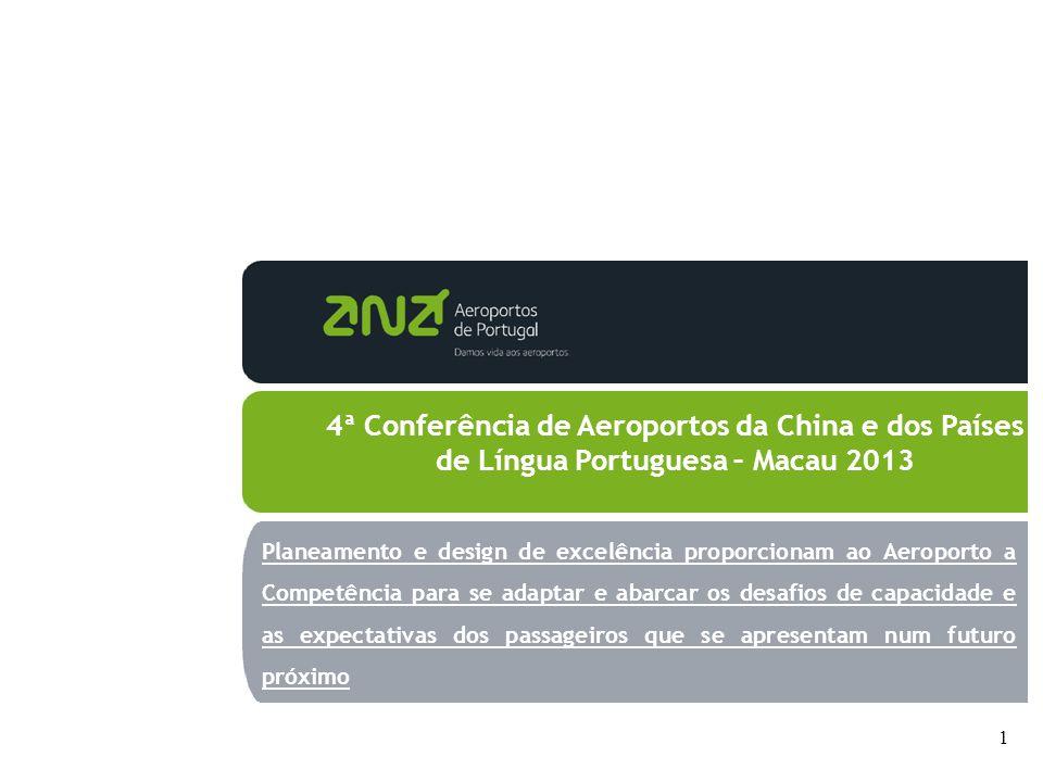 1 4ª Conferência de Aeroportos da China e dos Países de Língua Portuguesa – Macau 2013 Planeamento e design de excelência proporcionam ao Aeroporto a Competência para se adaptar e abarcar os desafios de capacidade e as expectativas dos passageiros que se apresentam num futuro próximo