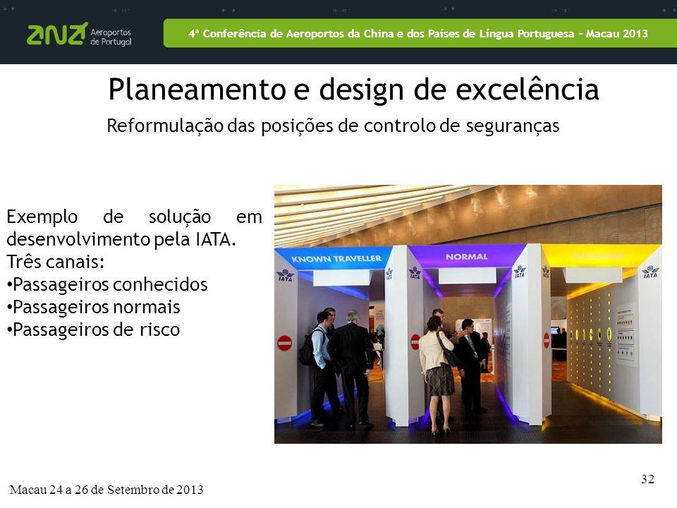 32 4ª Conferência de Aeroportos da China e dos Países de Língua Portuguesa – Macau 2013 Macau 24 a 26 de Setembro de 2013 Planeamento e design de excelência Reformulação das posições de controlo de seguranças Exemplo de solução em desenvolvimento pela IATA.