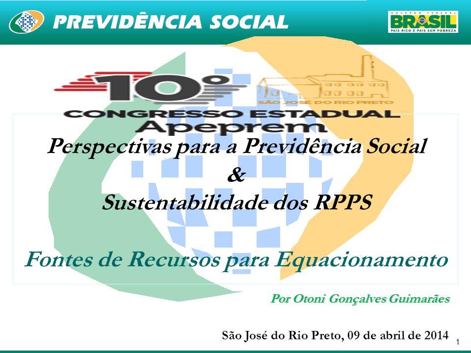1 Perspectivas para a Previdência Social & Sustentabilidade dos RPPS Fontes de Recursos para Equacionamento São José do Rio Preto, 09 de abril de 2014