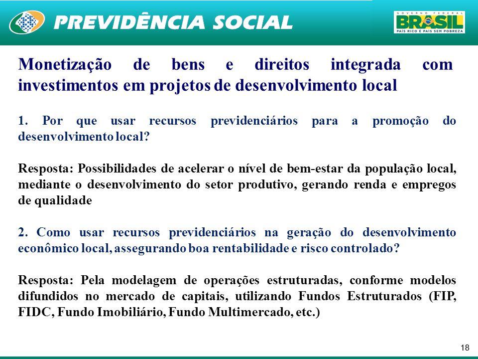18 Monetização de bens e direitos integrada com investimentos em projetos de desenvolvimento local 1. Por que usar recursos previdenciários para a pro