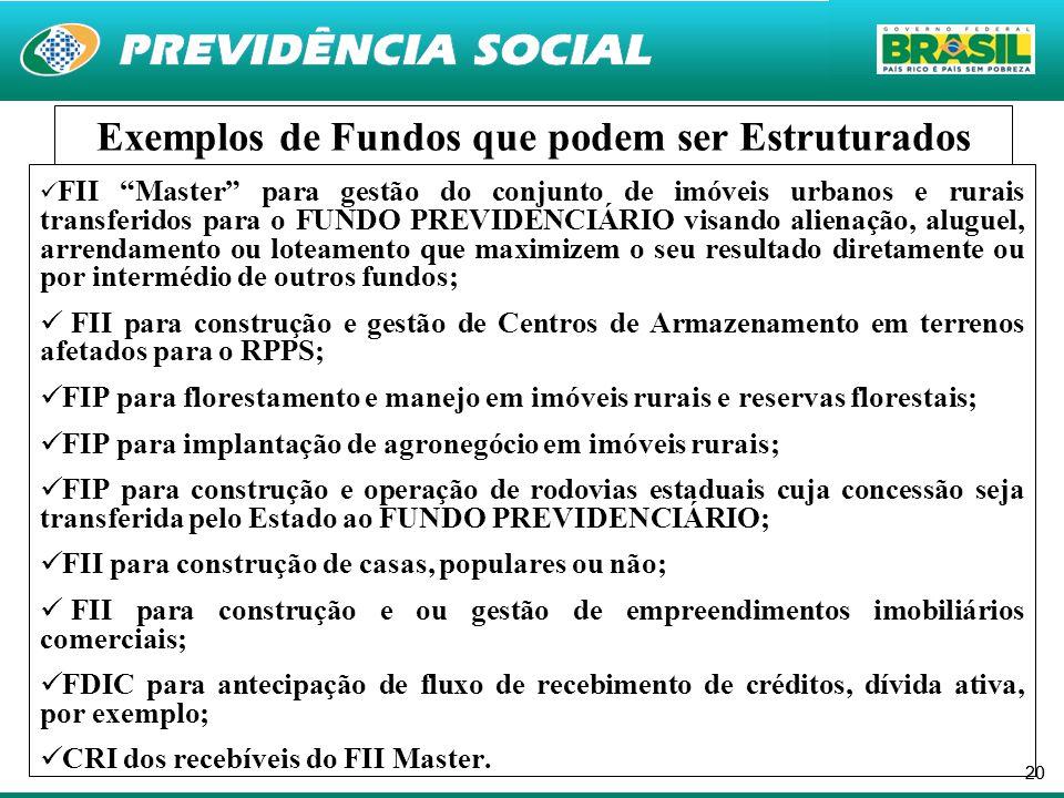 """20  FII """"Master"""" para gestão do conjunto de imóveis urbanos e rurais transferidos para o FUNDO PREVIDENCIÁRIO visando alienação, aluguel, arrendament"""