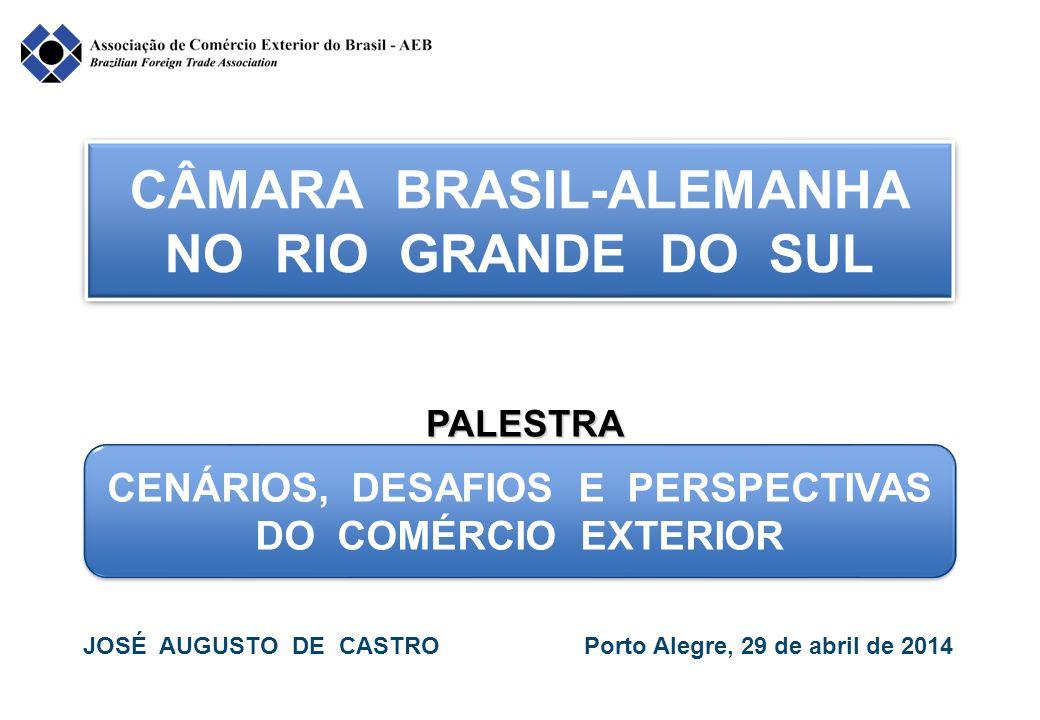 Fonte: MDIC/SECEX Elaboração: AEB 32 - PARTICIPAÇÃO DOS ESTADOS NA EXPORTAÇÃO DE MANUFATURADOS Anos São PauloMinas GeraisRio Grande do SulRio de JaneiroParaná TotManPartTotManPartTotManPartTotManPartTotManPart 199616,6--5,8--5,7--1,9--4,2-- 199718,1--7,2--6,3--1,7--4,8-- 199818,215,886,87,6 2,634,25,6 3,155,31,8 1,583,34,2 1,638,1 199917,5 14,8 84,6 6,4 2,1 32,8 5,0 2,8 56,0 1,6 1,3 81,2 3,9 1,5 38,5 200019,8 17,2 86,9 6,7 2,2 32,8 5,8 3,5 60,3 1,8 1,3 72,2 4,4 2,2 50,0 200120,6 17,6 85,4 6,1 1,9 31,1 6,3 3,4 54,0 2,4 1,3 54,2 5,3 2,4 45,3 200220,1 16,9 84,1 6,3 1,9 30,2 6,4 3,4 53,1 3,6 1,6 44,4 5,7 2,6 45,6 200323,1 19,2 83,1 7,4 2,5 33,8 8,0 4,1 51,2 4,8 2,2 45,8 7,1 3,2 45,1 200431,0 25,5 82,3 10,0 3,5 35,0 9,9 5,3 53,5 7,0 3,8 54,3 9,4 4,4 46,8 200538,0 31,5 82,9 13,5 4,4 32,6 10,4 6,1 58,6 8,2 3,5 42,7 10,0 5,6 56,0 200645,9 37,7 82,1 15,6 5,5 35,3 11,8 6,4 54,2 11,5 3,8 33,0 10,0 5,7 57,0 200751,7 42,1 81,4 18,3 5,9 32,2 15,0 7,6 50,7 14,3 5,0 35,0 12,36,6 53,6 200857,7 46,5 80,6 24,4 6,8 27,9 18,5 9,2 49,7 18,7 5,0 26,7 15,2 7,5 49,3 200942,4 32,9 77,6 19,5 4,6 23,6 15,2 7,3 48,0 13,5 3,8 28,1 11,2 4,7 42,0 201052,3 39,2 75,0 31,2 5,7 18,3 15,4 7,1 46,1 20,0 4,2 21,0 14,2 6,1 42,9 201159,9 45,1 75,3 41,4 6,3 15,2 19,4 8,3 42,8 29,4 6,4 21,8 17,4 6,6 37,9 201259,3 44,0 74,2 33,3 5,7 17,1 17,4 7,4 42,5 28,8 7,1 24,6 17,7 6,7 37,8 201356,3 40,9 72,6 33,4 5,6 16,8 25,1 12,8 51,0 21,3 6,7 31,4 18,2 6,8 37,4
