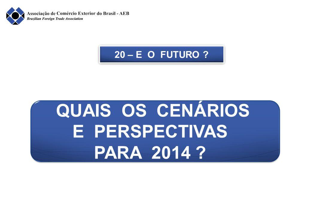20 – E O FUTURO ? QUAIS OS CENÁRIOS E PERSPECTIVAS PARA 2014 ? QUAIS OS CENÁRIOS E PERSPECTIVAS PARA 2014 ?