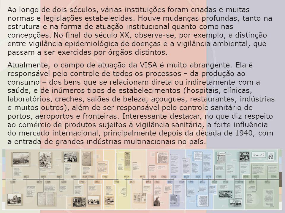 Os anos de 1980 e 1990 marcaram a aproximação da população com essas questões, principalmente a partir da promulgação da Constituição de 1988 – que assegurou o direito ao acesso de toda população aos serviços de promoção, proteção e recuperação da saúde –, da publicação da Lei Orgânica da Saúde (Lei 8.080/1990) – que definiu a VISA como parte integrante do Sistema Único de Saúde (SUS) –, do estabelecimento do Código de Defesa do Consumidor (CDC), do início do processo de descentralização da VISA e da criação do Sistema Nacional de Vigilância Sanitária (SNVS).