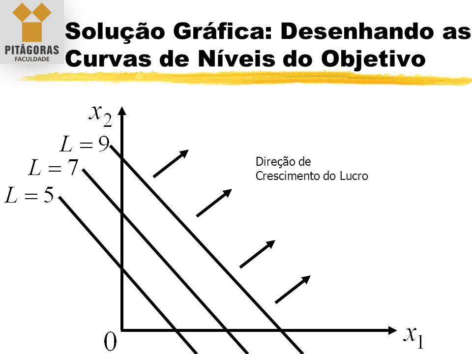 Solução Gráfica: Desenhando as Curvas de Níveis do Objetivo Direção de Crescimento do Lucro