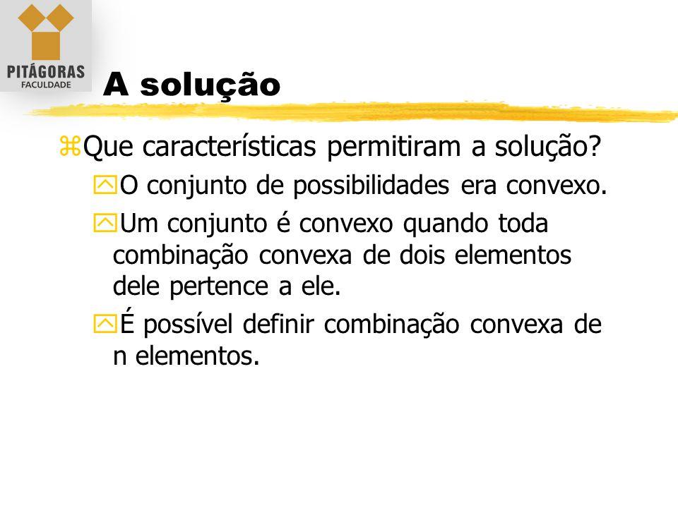 A solução zQue características permitiram a solução? yO conjunto de possibilidades era convexo. yUm conjunto é convexo quando toda combinação convexa