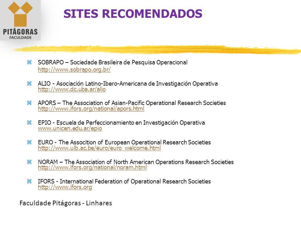 Faculdade Pitágoras - Linhares  SOBRAPO – Sociedade Brasileira de Pesquisa Operacional http://www.sobrapo.org.br/  ALIO - Asociación Latino-Ibero-Am
