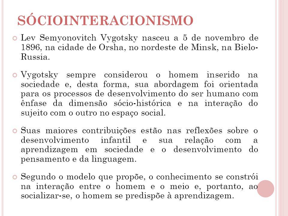 Lev Semyonovitch Vygotsky nasceu a 5 de novembro de 1896, na cidade de Orsha, no nordeste de Minsk, na Bielo- Russia. Vygotsky sempre considerou o hom