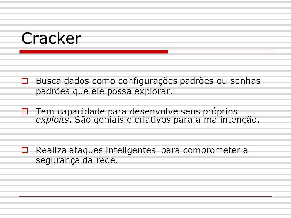 Cracker  Busca dados como configurações padrões ou senhas padrões que ele possa explorar.  Tem capacidade para desenvolve seus próprios exploits. Sã