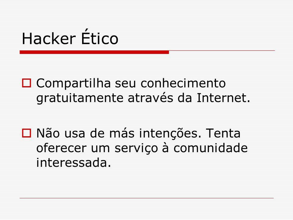 Hacker Ético  Compartilha seu conhecimento gratuitamente através da Internet.  Não usa de más intenções. Tenta oferecer um serviço à comunidade inte