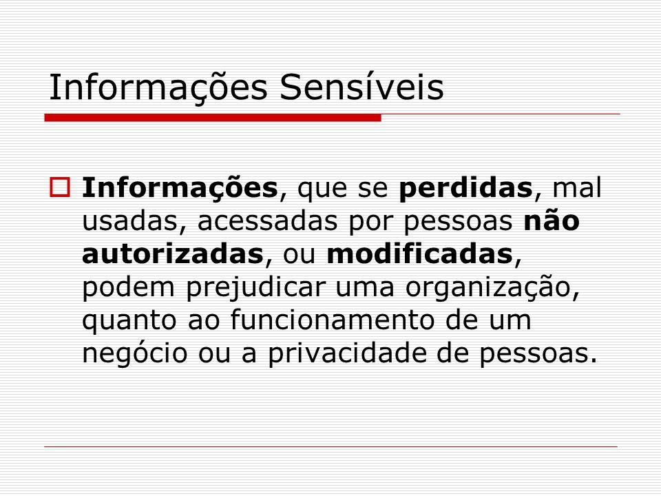 Informações Sensíveis  Informações, que se perdidas, mal usadas, acessadas por pessoas não autorizadas, ou modificadas, podem prejudicar uma organização, quanto ao funcionamento de um negócio ou a privacidade de pessoas.