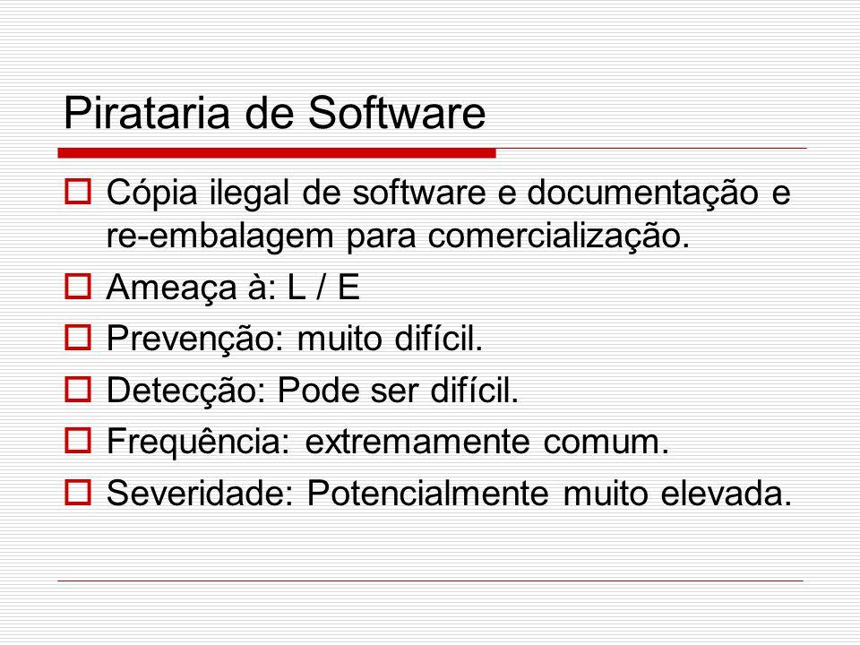 Pirataria de Software  Cópia ilegal de software e documentação e re-embalagem para comercialização.  Ameaça à: L / E  Prevenção: muito difícil.  D