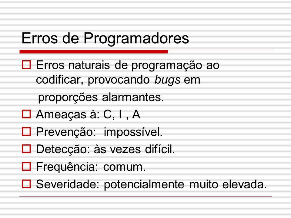 Erros de Programadores  Erros naturais de programação ao codificar, provocando bugs em proporções alarmantes.  Ameaças à: C, I, A  Prevenção: impos