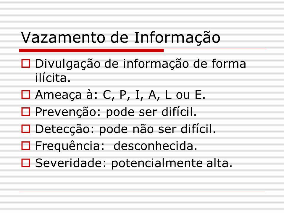 Vazamento de Informação  Divulgação de informação de forma ilícita.  Ameaça à: C, P, I, A, L ou E.  Prevenção: pode ser difícil.  Detecção: pode n