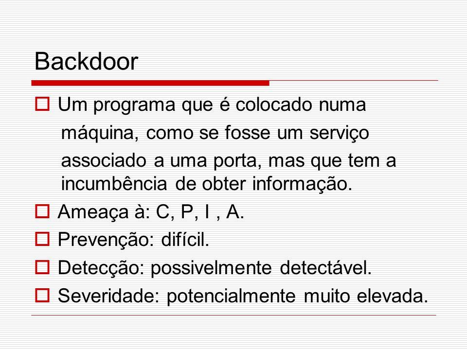 Backdoor  Um programa que é colocado numa máquina, como se fosse um serviço associado a uma porta, mas que tem a incumbência de obter informação.  A