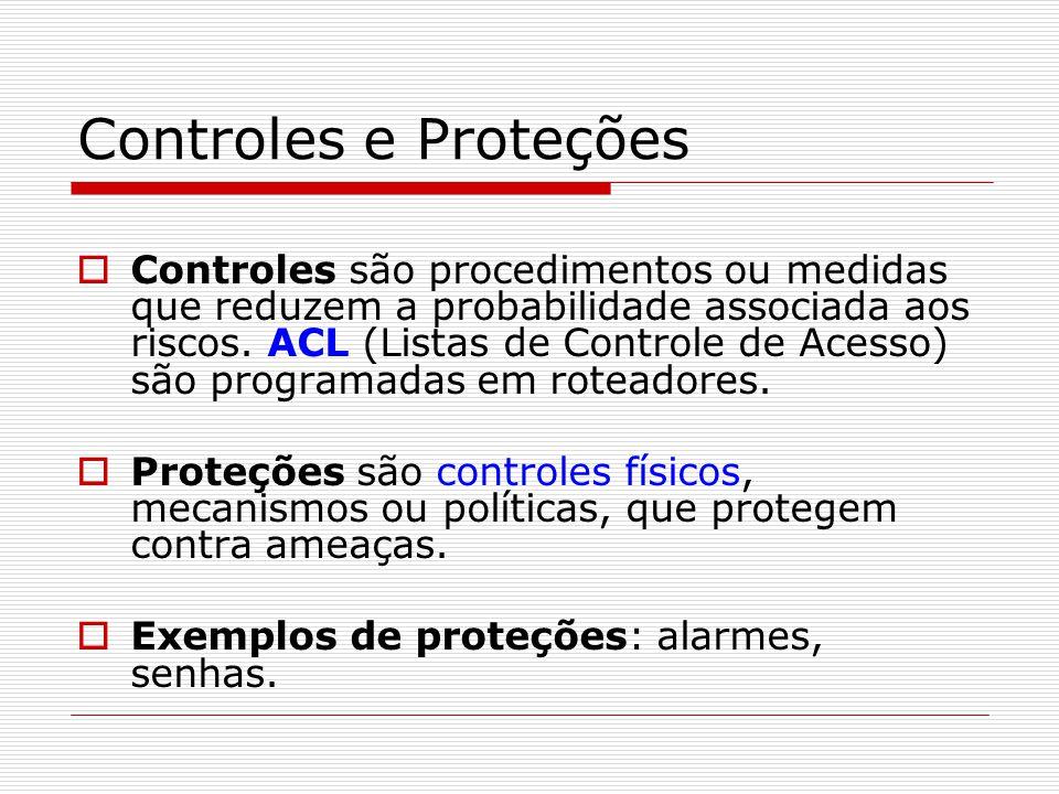 Controles e Proteções  Controles são procedimentos ou medidas que reduzem a probabilidade associada aos riscos. ACL (Listas de Controle de Acesso) sã