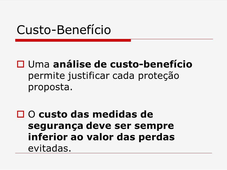 Custo-Benefício  Uma análise de custo-benefício permite justificar cada proteção proposta.  O custo das medidas de segurança deve ser sempre inferio