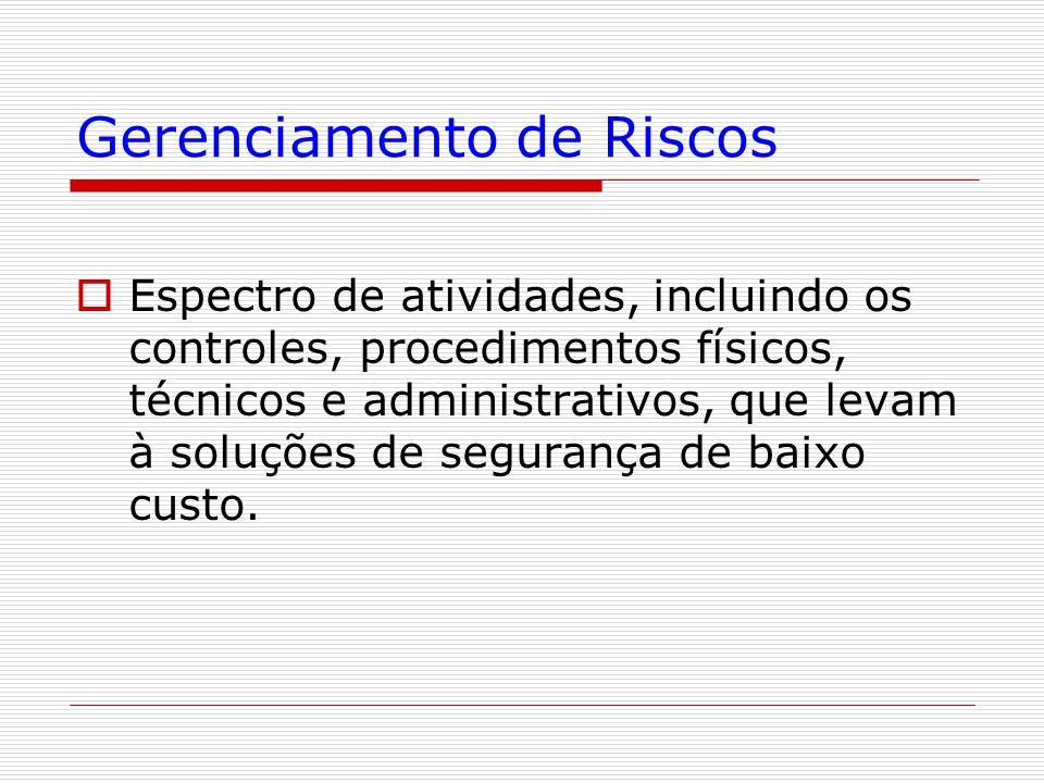 Gerenciamento de Riscos  Espectro de atividades, incluindo os controles, procedimentos físicos, técnicos e administrativos, que levam à soluções de s
