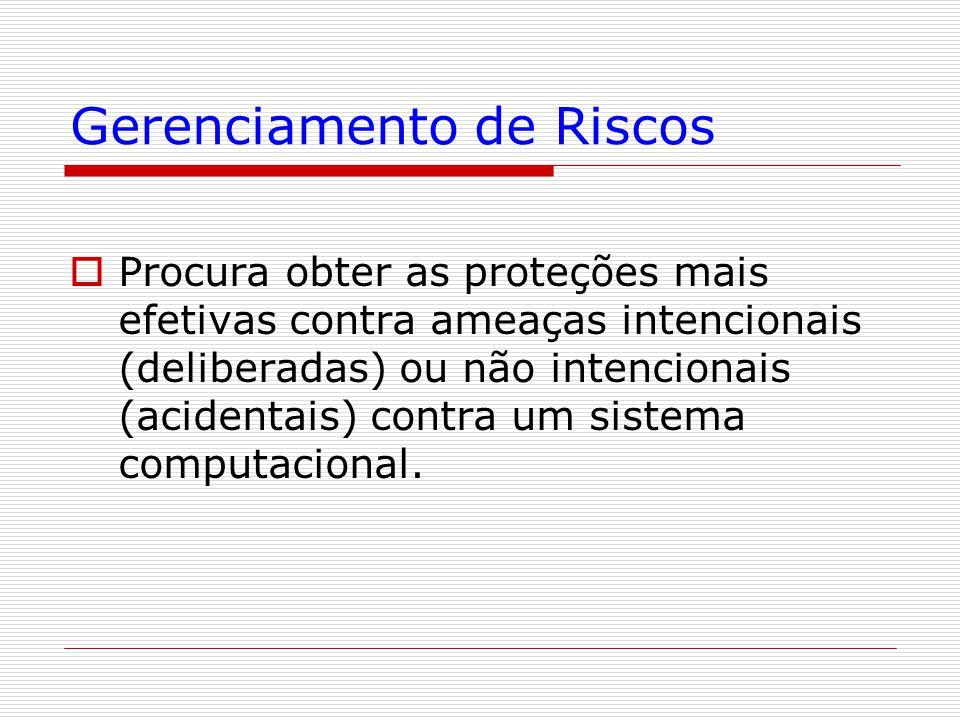 Gerenciamento de Riscos  Procura obter as proteções mais efetivas contra ameaças intencionais (deliberadas) ou não intencionais (acidentais) contra um sistema computacional.