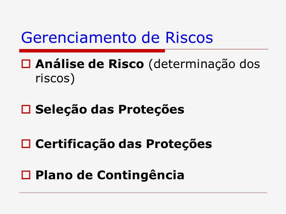 Gerenciamento de Riscos  Análise de Risco (determinação dos riscos)  Seleção das Proteções  Certificação das Proteções  Plano de Contingência
