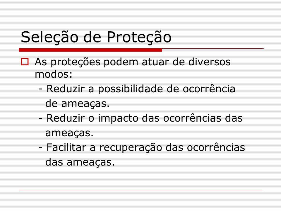 Seleção de Proteção  As proteções podem atuar de diversos modos: - Reduzir a possibilidade de ocorrência de ameaças. - Reduzir o impacto das ocorrênc