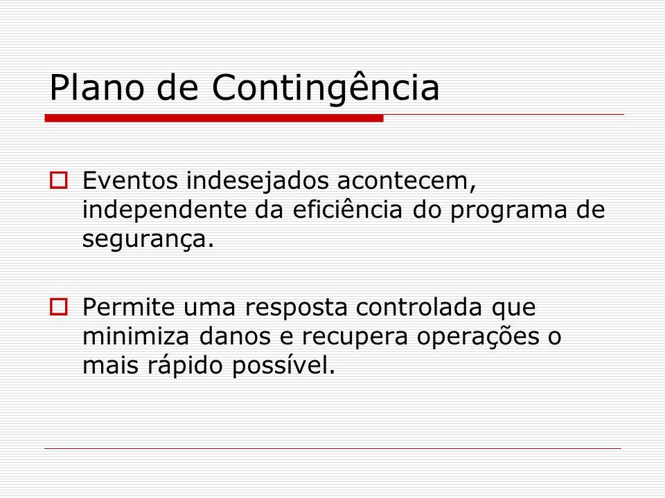 Plano de Contingência  Eventos indesejados acontecem, independente da eficiência do programa de segurança.  Permite uma resposta controlada que mini