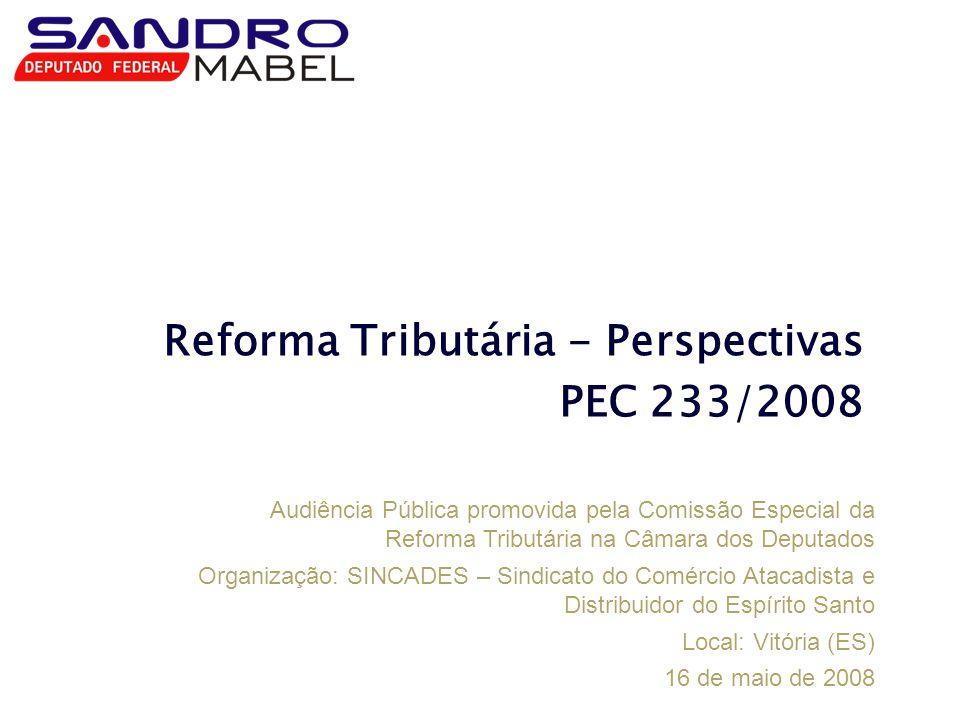 Reforma Tributária - Perspectivas PEC 233/2008 Audiência Pública promovida pela Comissão Especial da Reforma Tributária na Câmara dos Deputados Organi
