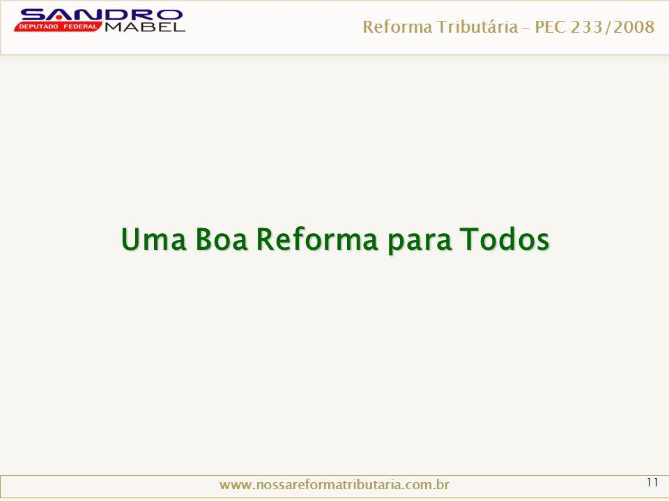 11 Reforma Tributária – PEC 233/2008 www.nossareformatributaria.com.br Uma Boa Reforma para Todos